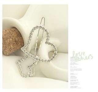 Crystal duble cute Love Heart Style Hair Barrette Clip Hairpin ts38
