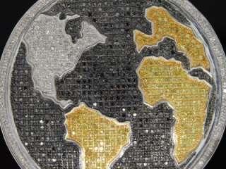 MENS WHITE GOLD FINISH PAVE DIAMOND MAP GLOBE PENDANT