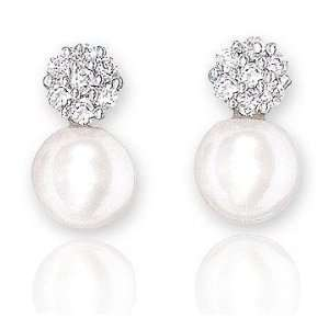 14k White Gold Diamond Fresh Water Pearl Drop Earrings