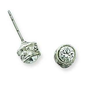 Silver tone Crystal Stud Post Earrings/Mixed Metal Jewelry