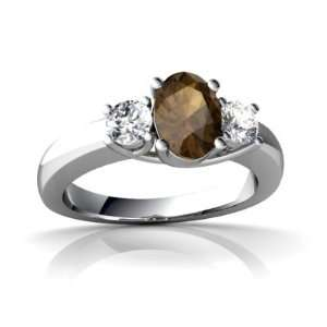14K White Gold Oval Genuine Smoky Quartz Ring Size 8 Jewelry
