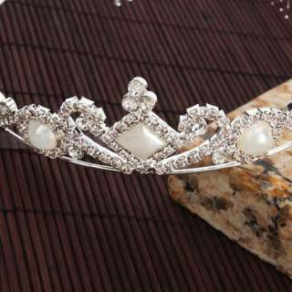 Wedding Prom Heart Style Pearl Rhinestone Hair Accessories Crown