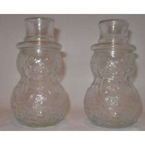 Clear Glass Snowman Jars for Candy or Craft Project
