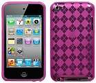 NEW PINK PLAID TPU CANDY SKIN CASE COVER FOR APPLE iPOD TOUCH 4 4G 4TH