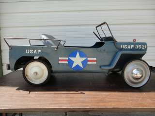 HAMILTON JEEP USAF 3521 BLUE PEDAL CAR TOY RIDE ON VEHICLE