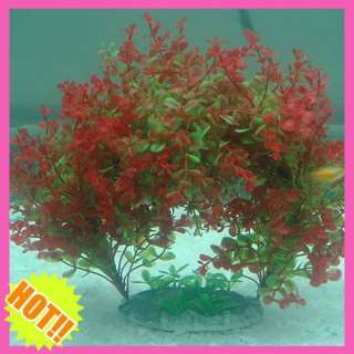 Aquarium Fish Tank Aquatic Plastic Plants Red With Green Arch Water