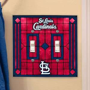 St. Louis Cardinals MLB Art Glass Double Switch Plate