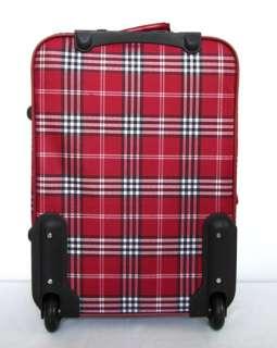 Piece Luggage Set Travel Bag Rolling Wheel Red Plaid