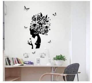 Girl Butterfly Art Mural Wall Vinyl Sticker Decal Beautiful Room Decor
