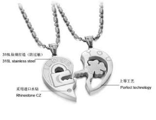 JN107 I Love You Silver Stainless Steel Charm Key & Love Heart Couple