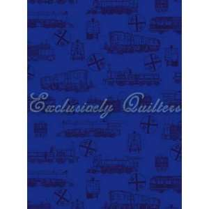 com All Aboard Railroad Dark Blue Trains Train on Blue Cotton Fabric
