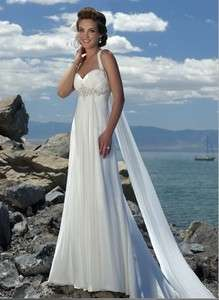 White Halter Beach Chiffon Wedding Dress Gown Size*Custom