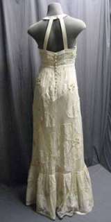 525 Tracy Reese Beaded Floral Applique Ivory Lace Halter Dress Gown 2