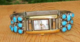 VINTAGE W NEZ NAVAJO INDIAN STERLING SILVER TURQUOISE CORAL WATCH LINK