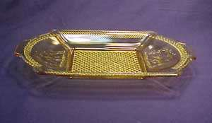 Amber Deer and Pine Tree Pattern Glass Bread Tray