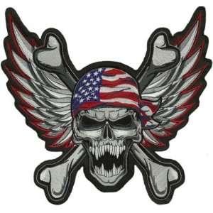 PATCH WINGED USA SKULL Embroidered For Biker Vest!: Everything Else