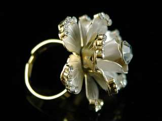 3D Rose Gold Plated Ring use Swarovski Crystal SR061