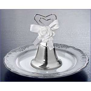 Wedding Bell With White Rose Decoration With Satin Bow   Wedding