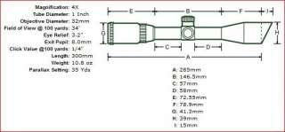 Leapers UTG 5th Gen 4x32 MilDot Rifle Scope + Airgun Mount Rings