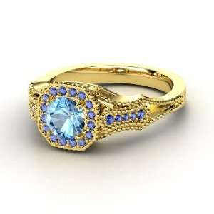Melissa Ring, Round Blue Topaz 14K Yellow Gold Ring with