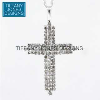 10k White Gold Diamond Cross Pendant 1ct Total 2.48gm