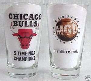 Miller Genuine Draft Chicago Bulls beer pint glasses