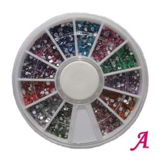 lot 3 Wheel Multi Nail Art DIY Mixed Nail Art Tips Rhinestone Slice