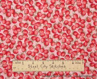 Timeless Treasures Strawberry Fruit Berry Fabric 1.3 Yd