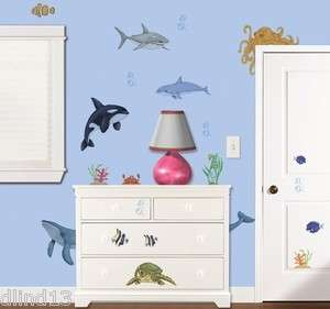 Under the Sea Dolphin, Shark, Sea Turtle, Octopus Wall Stickers Decals