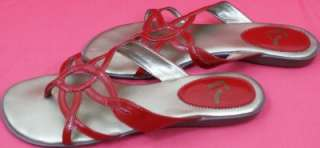 Size 8.5 REPORT R ( 23 ) Love You Heart Arrow Red Golden Sandals