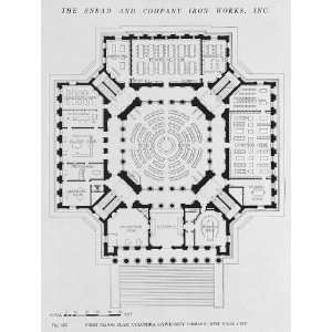 First floor plan,Columbia University Library,NY,1915