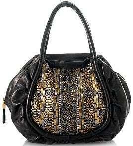 NEW ISABELLA FIORE Valentina Black Leather Satchel Bag Handbag $695