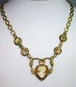 Vintage Gold Filled Heart Pendant Carved Shell Cameo Pendant Necklace