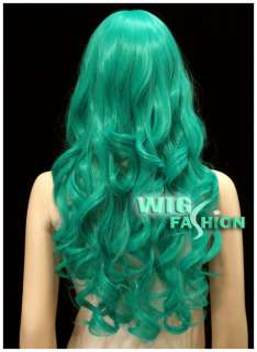 Long Turquoise Green Curly Hair Wig CU64