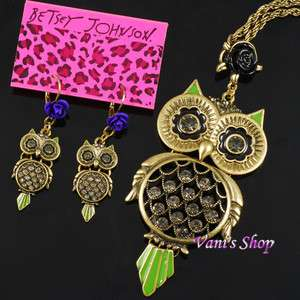 BETSEY JOHNSON Charm Owl necklace + earrings set, in gift box