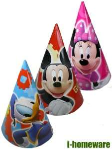 Mickey Mouse Birthday Party Supplies 6x Cone Hats m370