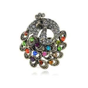 Tone Vintage Inspired Colorful Peacock Bird Crystal Rhinestone Ring