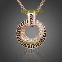 18K rose gold Gp Swarovski Crystal modern necklace 808