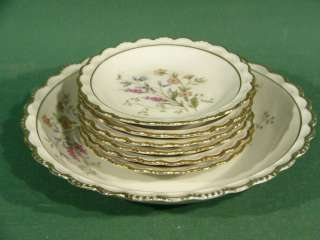 c955 Floral Decorated Porcelain Bowl w/ 6 Corn Plates
