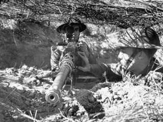 View of Soldiers Using a .50 Caliber Anti Tank Machine Gun Premium