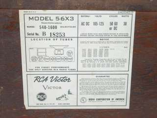 Antique RCA Victor 56X 56X3 Radio Tested/Working