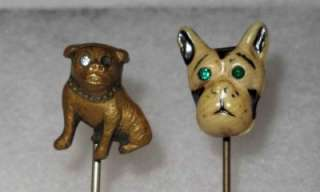 Antique Victorian Stick Pin Collection Gold? Horseshoe Cat Dog Pewter