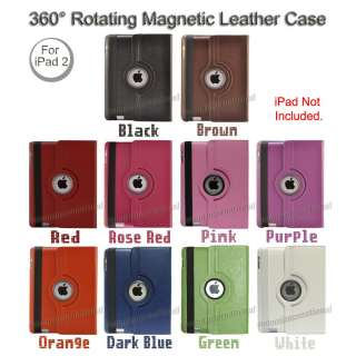 Rotating Magnetic Smart Cover Leather Case Swivel Stand Apple iPad 2