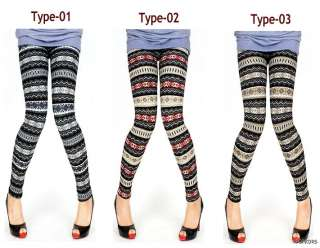 Wool Blend Nordic Patterns Thermal Fleece Winter leggings Pants Tights