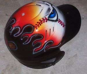Baseball Batting Helmet Airbrush New Flaming Hot