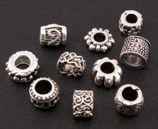 Mix 80pc Tibetan Silver Charm Spacer Beads Fit European Bracelet fm42