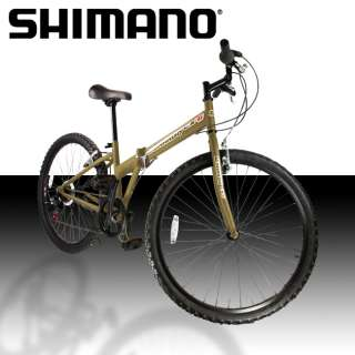 NEW 26 Folding Shimano Mountain Bike Bicycle Foldable 6 Speed Gold