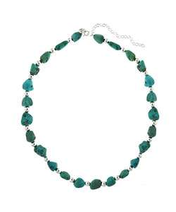 Sterling Silver Genuine Turquoise Bead Necklace