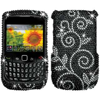 BLING DIAMOND CASE COVER BLACKBERRY CURVE 2 8520 8530 SILVER BLACK