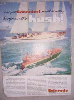 1950s Evinrude Outboard Boat Motor Ad Sailboat Color j
